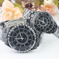 Upscale Fashion Imitation Ceramic Lovers Watches with Steel Band Baking Varnish Three Stitches Ladies Men Quartz Wristwatches