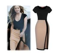 High quality 2015 women's fashion summer Pencil Dress short sleeve milk silk split Slim dress brand office wear clothing