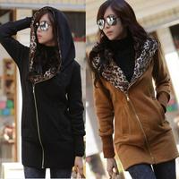 2015 winter casual warm leopard korea casual women hooded sweatshirt warm hoodies outerwear plus size cardigan