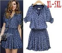 XL-5XL new spring 2015 Women Dress Cotton Female Cute Dresses Vestidos Plus Size Women Clothing Print Dress Chiffon Clothes