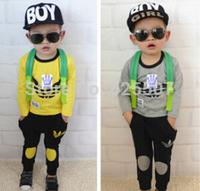 Hot Sale NEW Spring Autumn Leisure kids 2y-5y Sport suit set long sleeve children T shirt+kids pants set,2pcs sets free shipping
