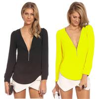 Plus Size S-XXL 6 Colors New 2014 Women Blouse Shirt Fashion Long Sleeve Tops V-neck Chiffon Shirt Blusas Femininas