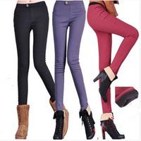 women pants 2015 spring winter plus thick velvet leggings Slim big yards  warm pants ladies fleecepencil pants LJ275LMX