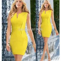 Vestido de renda Women Elegant Yellow Adjustable Neckline Sleeveless Fashion Tunic Stretch Office Party Cotton Mini Dresses H58