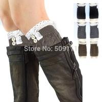 Lace Trim Flat Cuffs Button Down Knit Warmers Knee High Boot Socks Winter Boot Warm Socks Knit Leg Warmer 5 pairs JT008