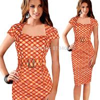 Women Elegant Business Work Belted Dress Bodycon Stretch Square Collar Orange/Black Plaid Casual Party Pencil Midi Dresses H57