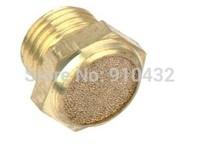 "10pcs/lot Brass 1/4"" BSPT Flat Head Pneumatic Muffler Install Easy SLM-02 Solenoid valve muffler"