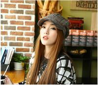 Wholesale women's wool hat Peaked cap hat spring hat in Europe and America tide plaid Beret cap