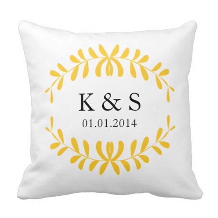 Romantic couples monogram throw pillow covers custom initials welding
