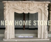 Fireplaces mantels designs baroque style hand carving flowers decorating on the legs of fireplace mantel shelf
