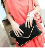 2015 Fashion Women Bag Punk Studs Day Clutch Black Leather Shoulder Bag For Women Messenger Shoulder Bag Free Shipping
