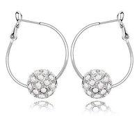 Crystal Ball Earrings Branded Design 18K White Gold Plated