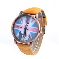 Fashion Ultrathin Quartz Watches Cowboy Leather Watch Casual Unisex Dress Wristwatches British Flag Guitar Printing