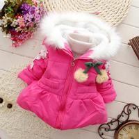 girls coats winter thicken fur kids clothes wholesale children jackets cherry hooded outerwear panya chl02