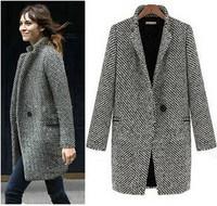 2015 Design New Spring/Winter c Women Grey Medium Long Oversize Warm Wool Jacket European Fashion Overcoat