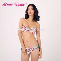 [little dara]  Women bikini set 2015 new print low waist BANDEAU brazilian bikini sexy swimwear biquini retro brazilian