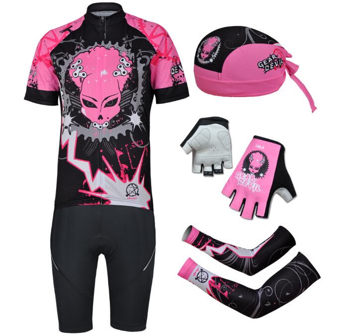Mulheres primavera / verão rosa ciclismo roupas ternos qualidade + rápido Dry equitação da bicicleta Jersey + Shorts + chapéu + luva + Armwarmers definir grátis frete(China (Mainland))