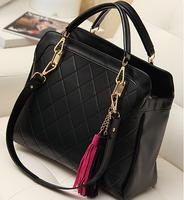new fashion plaid women leather handbags shoulder bag big ladies bags quilted women bag women handbag black brown tote A70-795