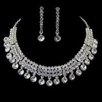 Wholesale rhinestones choker necklace earrings water drop jewelry sets wedding accessories silver plated bijoux women 0173
