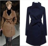 2014 KNITTING Free Shipping Europe and United Women's Wool Long Coat ,Fashion Warm Winter Leisure Wear,Cloak Blends Fur Jacket