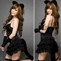 2015 New Sexy Cat Girl Cosplay Clothes Pajamas Night skirt dress nightgown Alluring women's lingerie For Sex Life 649