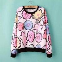 Popular Flowers Print Girl Sweet Hoodies Long Sleeve O Neck Women Spring Sweatshirts YS92914