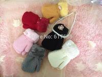 High quality  winter warm kids/chilren gloves for boys&girls plus velvet thicken Stripes gloves/mitten with rope(4-6years)