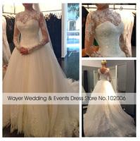 Real Pictures Romantic Long Sleeve Lace Appliques Tulle Bridal Wedding Dresses Court Train vestidos de noiva casamento boda 2015