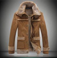 Free shipping 2015 New Warm Winter Sheepskin Men's Leather jacket Men Leisure Fur coat Brand luxury Leather coat 1007