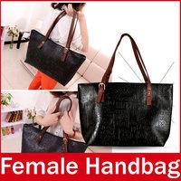 2015 New Brand Hieroglyphs Embossed Women Handbag Fashion Ladies Zipper PU Leather Hand Totes Bag For Female