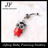 Free Shipping Rhinestone Owl Dangle Surgical Stainless Steel Navel Belly Bar Button Ring Body Piercing Jewelry 5pcs/lot DQ012