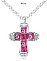 Austrian Crystal Cross Pendant Necklace Designer Jewelry