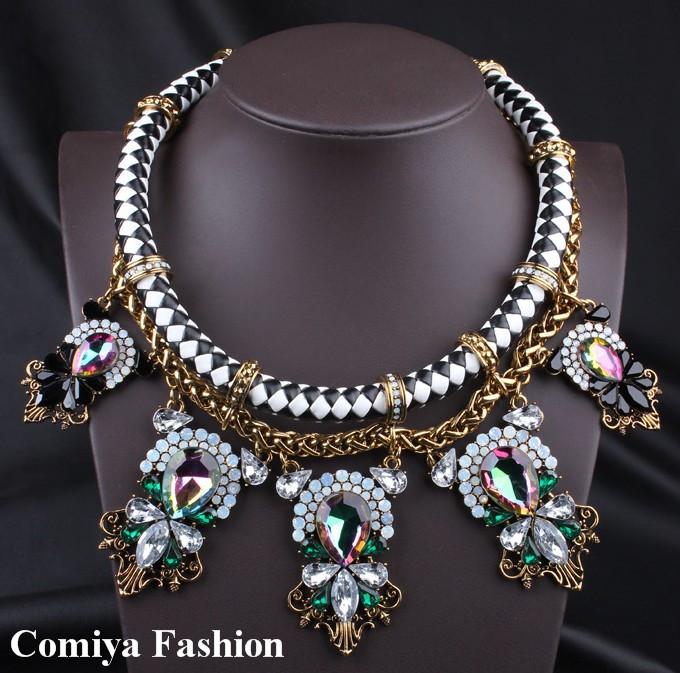 NEW 2015 Fashion Necklaces &Pendants Costume Imitation Gemstone Necklace Chunky Choker Statement Necklace For Women Jewelry(China (Mainland))