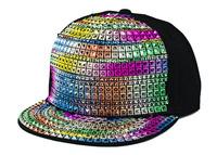Hot Sale  Fashion Adults Baseball Caps Rainbow Black Shining Color Adjustable Caps Hip Hop