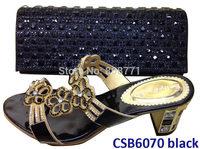 Pu and shinning material  sexy  lady high heel  shoes matching  bag CSB6070 black