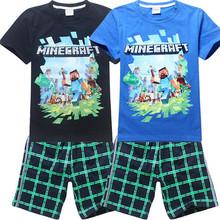 2015 New Children Clothing Set Mine Craft Boys Set Cartoon Shirt+Pants 2 Pcs Suit Spring/Summer Baby Kid Girls Clothing Set Z081(China (Mainland))