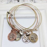 4pcs/lot 2015 New Cheap Wholesale Alex And Ani Expandable Wire Bracelets Bangles With tree of life Charms free shipping