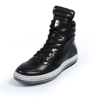 Genuine leather Men Retro ankle boots Winter Autumn shoes England-style fashionable Riding boots Men's short Black flats 1002