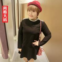 Sugar sugar plus size clothing winter 2014 mm plus size beading woolen one-piece dress 9252