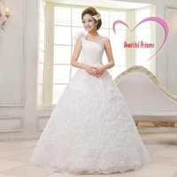 Free shipping  2014 Sexy bride wedding dress one shoulder fashion plus size lace dresses fashion cheap wedding gown