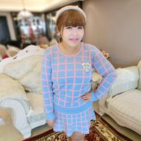 Sugar sugar plus size clothing plus size small fresh color block plaid wool knitted set 9968