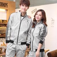 Spring and autumn lovers sportswear set long-sleeve casual sweatshirt plus size male plus velvet winter sportswear