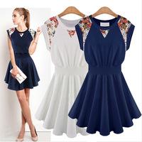 2015 summer women dress new European style lace stitching casual dress knitting sleeveless dress