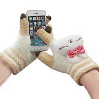 New  Winter Women Cute Cartoon Warm Touch Screen Gloves Fleece Rabbit Panda Cat Magic Fingers Iglove Snowboard Gloves
