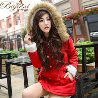 Woman's Snow Wear Big Fur Hooded Down Jacket Woman Warm Down Coat Medium Long Winter Jacket Duck Down