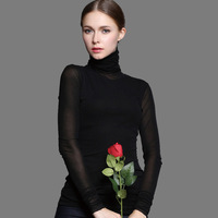 2015 New Spring Autumn European Style Fashion All Match Women Turtleneck Sexy Transparent Gauze Black Blue Rose Basic Shirt Top