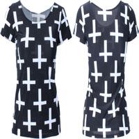 EAST KNITTING Summer 2015 New Spring Fashion Blusas Cross Print Women T-shirt  Tops Couple Shirt Women Plus Size