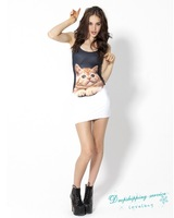 Summer New Women's Europe Stylish Slim Sleeveless Dress Print Dress Women Casual Dress Free Shipping