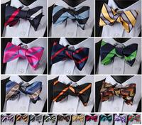 Stripe Classic 100%Silk Jacquard Woven Men Butterfly Bow Tie
