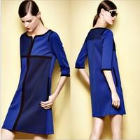 Three Quarter Sleeve A Line Patchwork  Dress Fashion Ladies Blue Casual Dress Big Size M-XXXL